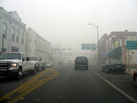 Photo---Live-Oak---Howard-Street-looking-East---2007---Smoke-from-Osceola-National-Forest-Fire