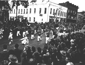 Photo---People---Suwannee-High-Marching-Band-at-Governor-Warren's-Inauguration-Parade---1949---January-5